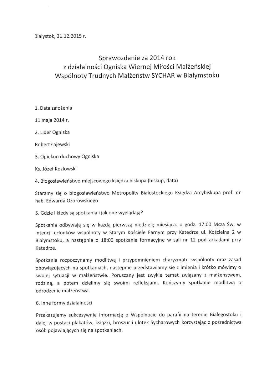 Sprawozdanie Sychar 2014-1