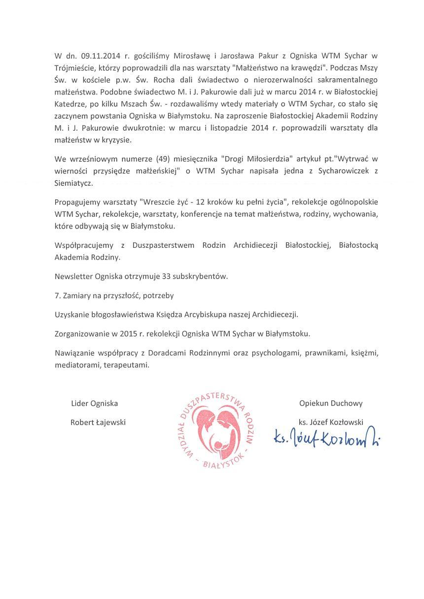 Sprawozdanie Sychar 2014-2